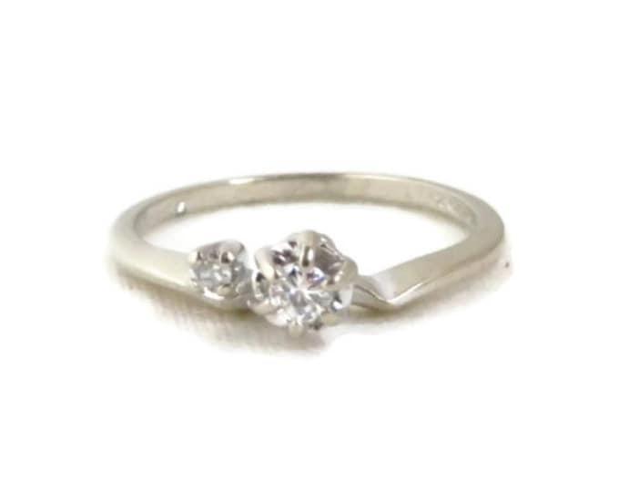 Diamond Engagement Ring, 14K White Gold Women's Ring, 0.14ctw, Size 7