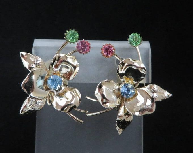 1950s Pastel Rhinestne Earrings - Gold Tone Flower Clip on Earrings