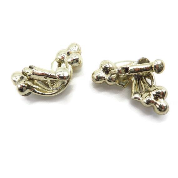 Coro Pearl and Rhinestone Earrings, Pale Gold Ton… - image 5
