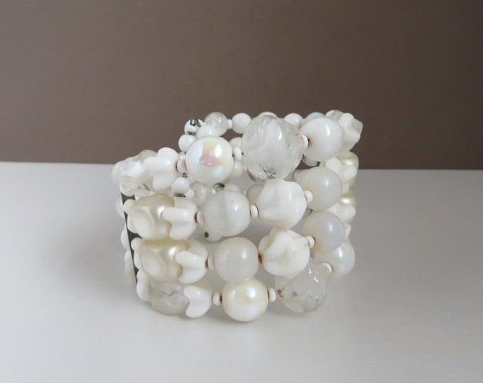 White Bead Wrap Bracelet, Vintage Frosted, Pearlized Bead Bracelet