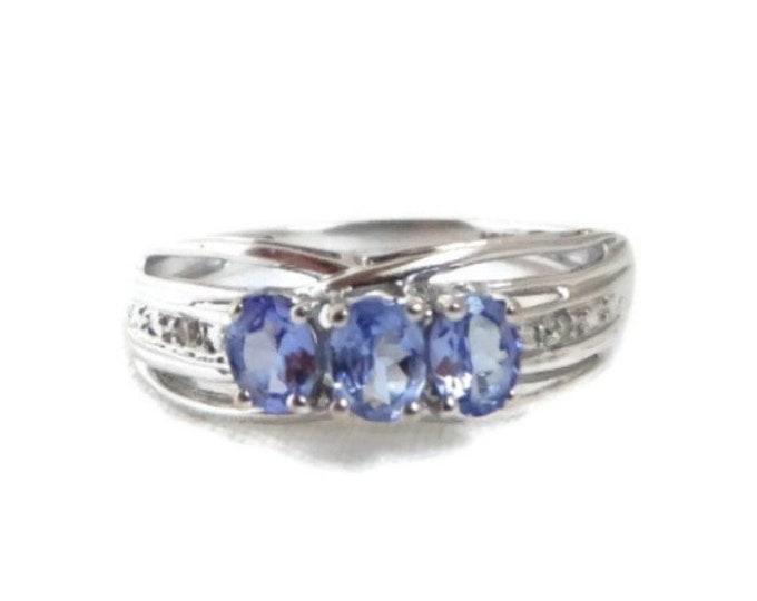 Tanzanite & Diamond Ring - 10K White Gold 0.34ctw Oval Lavender, Size 7