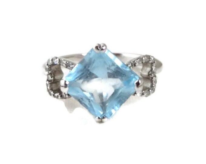 Blue Topaz & Diamond Ring - 14K White Gold, Octagon Cut Topaz 2.68ct, Diamonds 0.078ct, Size 5
