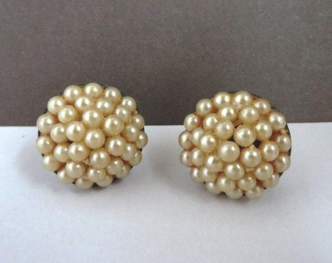 Pearl Cluster Earrings - Vintage Faux Pearl Screw Back Earrings