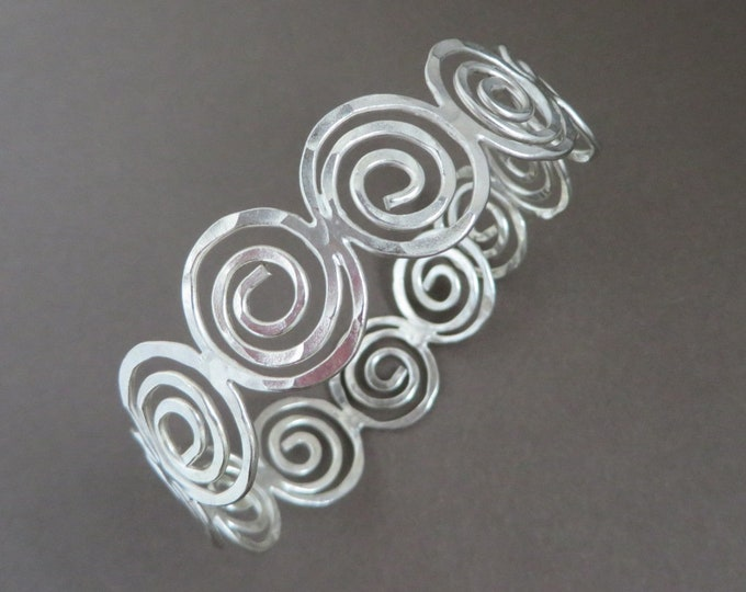 Sterling Silver Handmade Cuff - Vintage 1970s Scrolled Open Cuff Bracelet