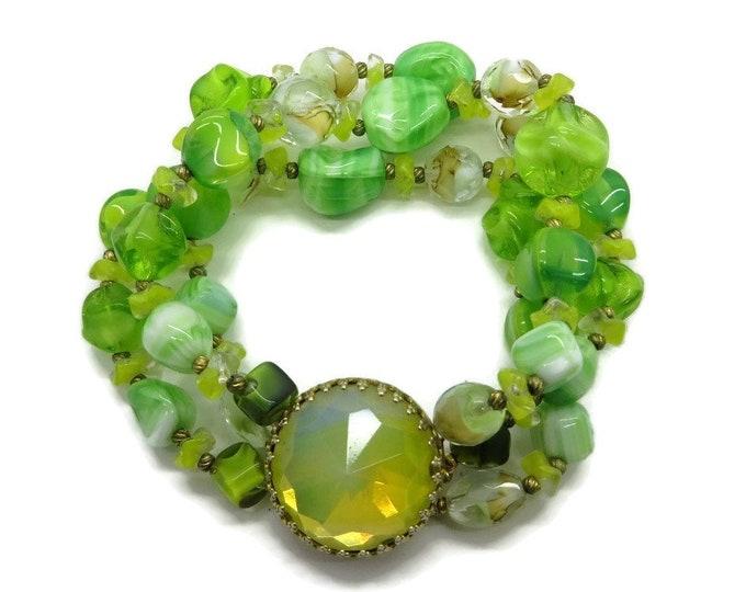 Hattie Carnegie Green Bead Bracelet - Vintage Crystal Triple Strand Bracelet, Mid Century Designer Signed Jewelry