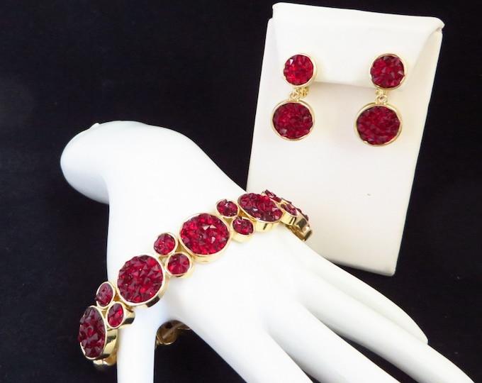 Napier Red Bead Bracelet & Earrings, Faceted Bead Jewelry, Stretch Bead Bracelet, Drop Dangle Clip on Earrings
