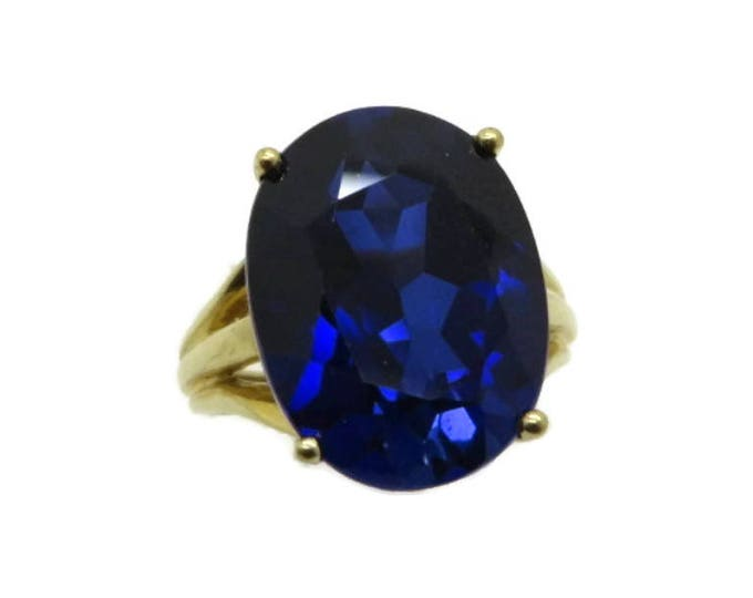 Blue Spinel Ring, 10K Gold Solitaire Ring, Vintage Blue Stone Ring, Size 4