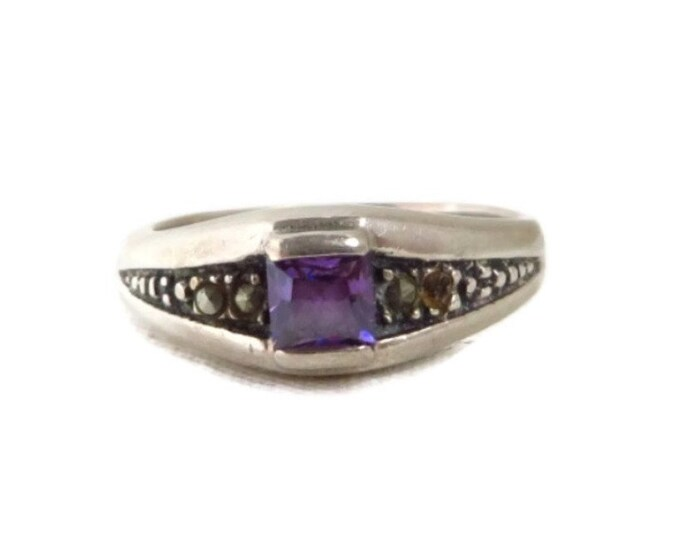 Sterling Silver Amethyst Ring, Vintage Purple Stone Ring, Marcasite Beaded Ring