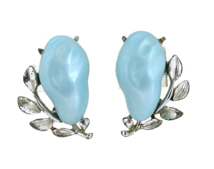 Blue Flower Earrings - Signed BSK Lucite Earrings, Vintage Clip on Earrings