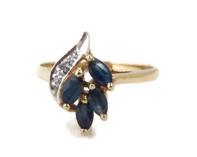 Sapphire & Diamond Ring, 10K Gold Cocktail Ring, Vintage Ring, Size 6