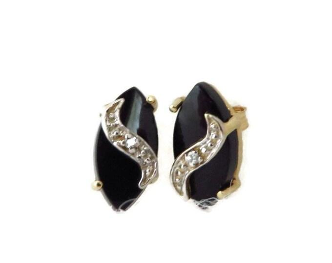 Onyx & Diamond Earrings, 14K Yellow Gold Pierced Stud Earrings