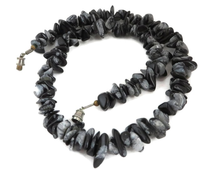Black Stone Necklace - Vintage Black & Gray Marbled Necklace, Chunky Choker, 1970s Jewelry