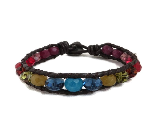 Leather & Bead Bracelet - Fossil  Multicolor Bead and Leather Toggle Bracelet