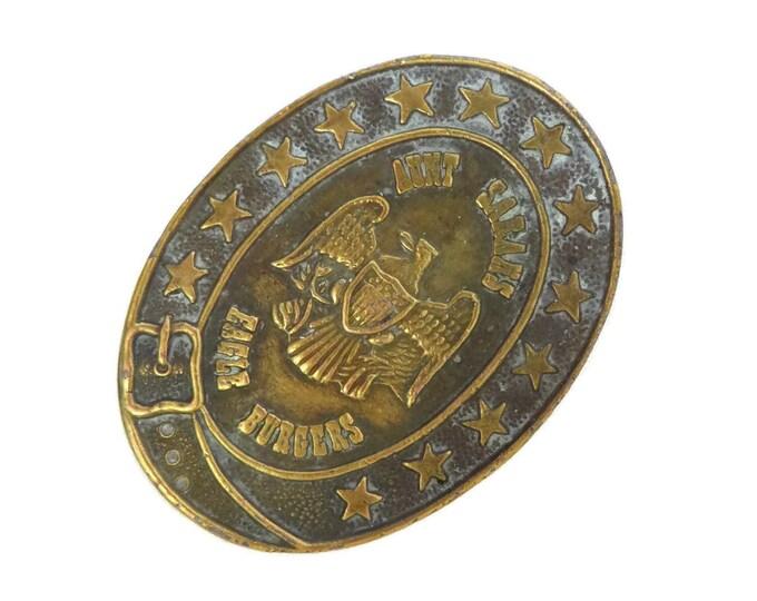 Vintage Brass Belt Buckle, Aunt Sarahs Eagle Burgers Belt Buckle, Dine-O-Rama Souvenir, Collectible Buckle, Gift for Him