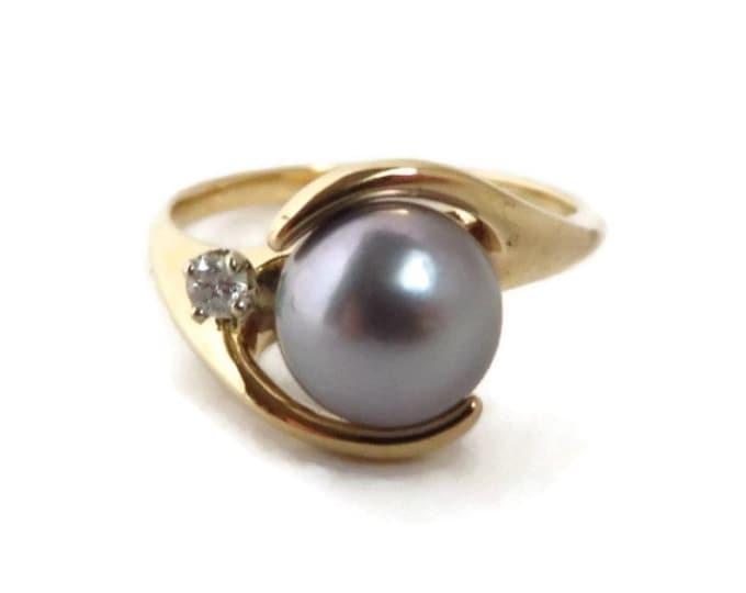 Akoya Pearl & Diamond Ring - 14K Gold Gray Pearl 7.5mm, Diamond Accent, Size 6