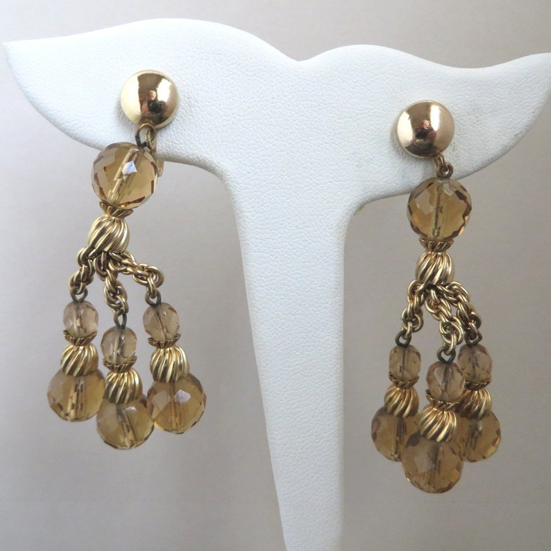 Designer Signed Jewelry Amber Crystal Gold Tone Demi Parure Vintage EISENBERG Bracelet Earrings Set
