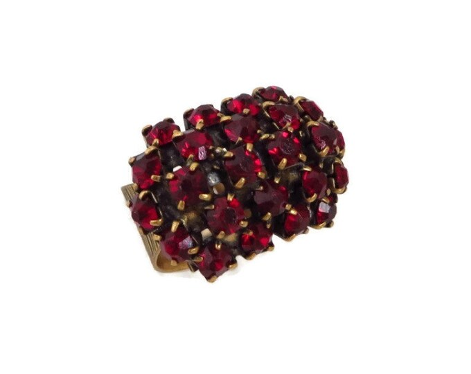 Rhinestone Ring, Vintage Ruby Rhinestone Ring, Gold Tone Wide Band Multi Stone Cocktail Ring, Adjustable Ring