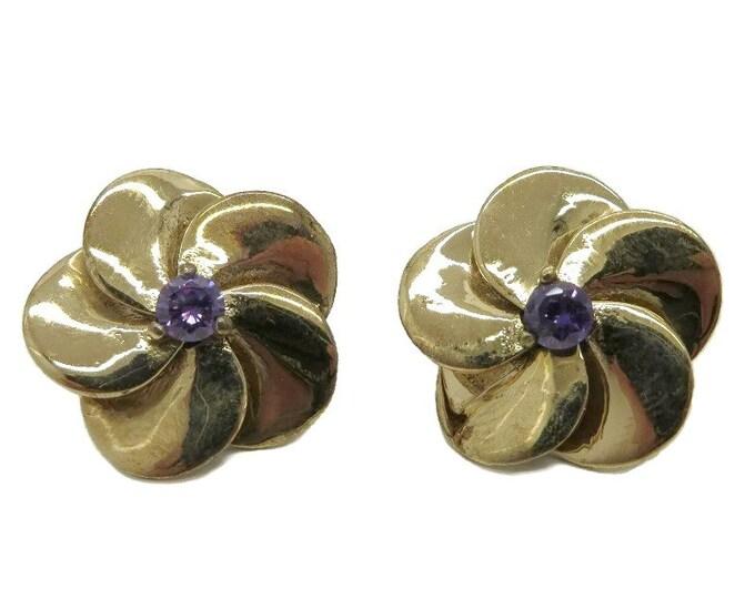 Vintage Sterling Silver Pansy Earrings | Vintage Faux Amethyst Flower Earrings | Huggie Pierced Earrings