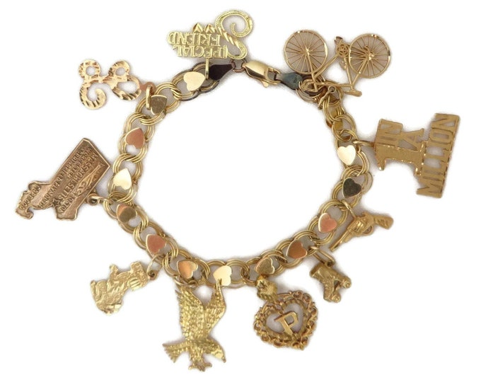 "14K Gold Charm Bracelet - Vintage Heart Charm Bracelet, 6 3/4"", Ten 14K Gold Charms"