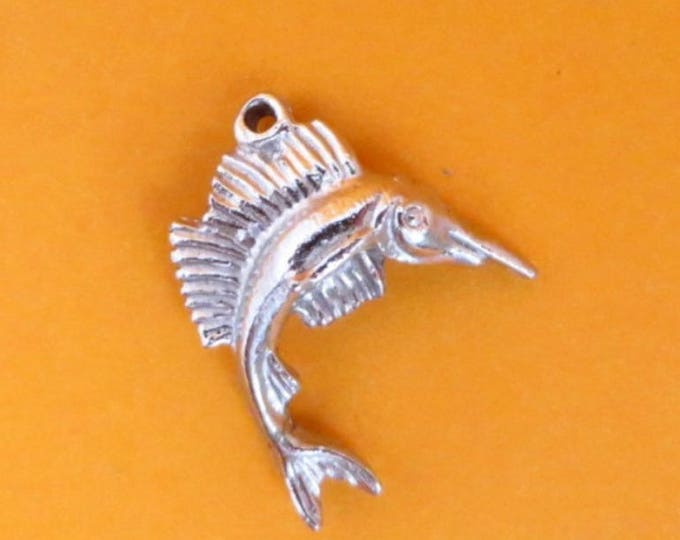 Vintage Charm, Sterling Silver Charm, Swordfish Charm, Starter Charm, Silver Charm Bracelet Gift Idea