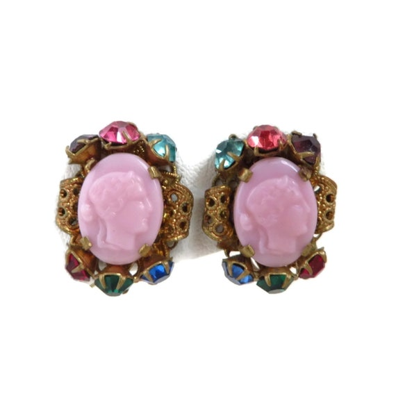 b16c7a46c Vintage Czech Glass Pink Cameo Screw Back Earrings | Etsy