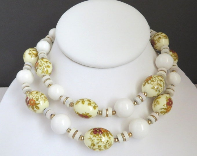 White & Cream Bead Necklace, Porcelain Flower Necklace, Vintage Japan Necklace