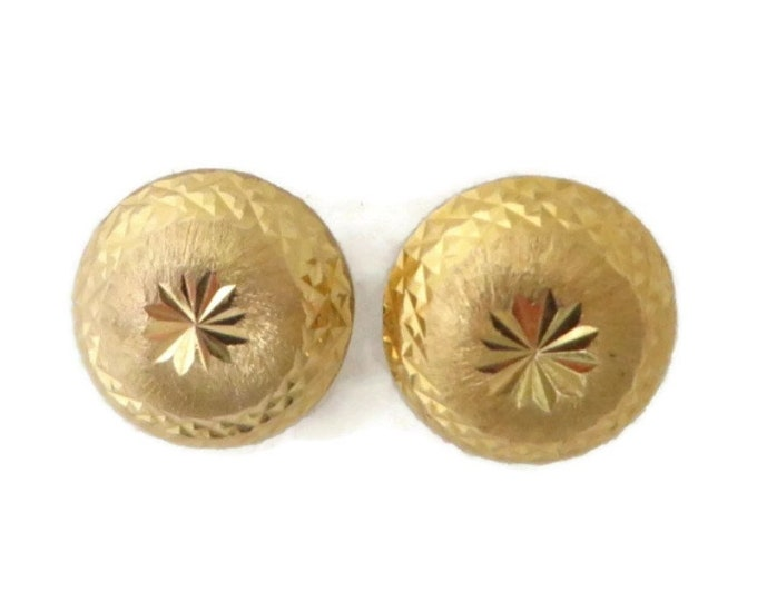 14K Gold Stud Earrings, Vintage Yellow Gold Button Pierced Earrings