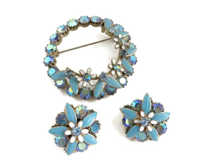 Weiss Jewelry, Blue Brooch Set, Vintage Earrings, Circle Brooch, Blue Jewelry Set, AB Rhinestone Earrings, Vintage Brooch, Unique Gift
