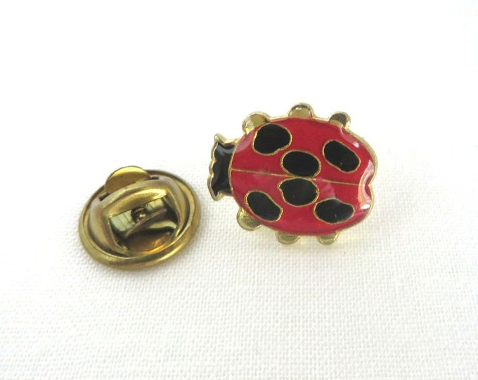 Lady Bug Lapel Pin - Vintage Red & Black Tie Tac, Tack, Insect Pin