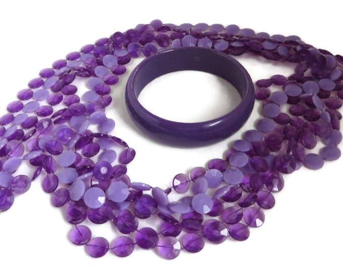 Purple Jewelry, Jewelry Set, Women's Jewelry, Necklace Set, Triple Strand Beaded Necklace, Purple Jewelry Set, Boho Bracelet, Gifts