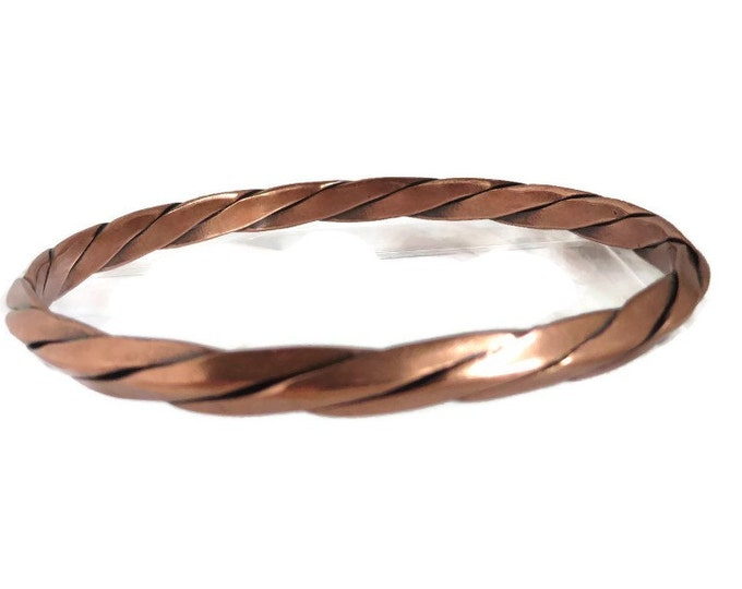 Twisted Copper Bangle, Vintage Skinny Bangle, Copper Braided Bracelet