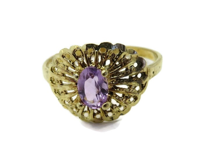 Amethyst Cocktail Ring, Vintage Sterling Silver, Gold Plated Filigree Ring, Size 8.25-8.5