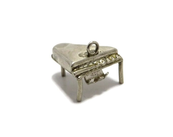 Piano Charm, Vintage Sterling Silver Charm, 3D Grand Piano Charm, Charm Bracelet Gift Idea