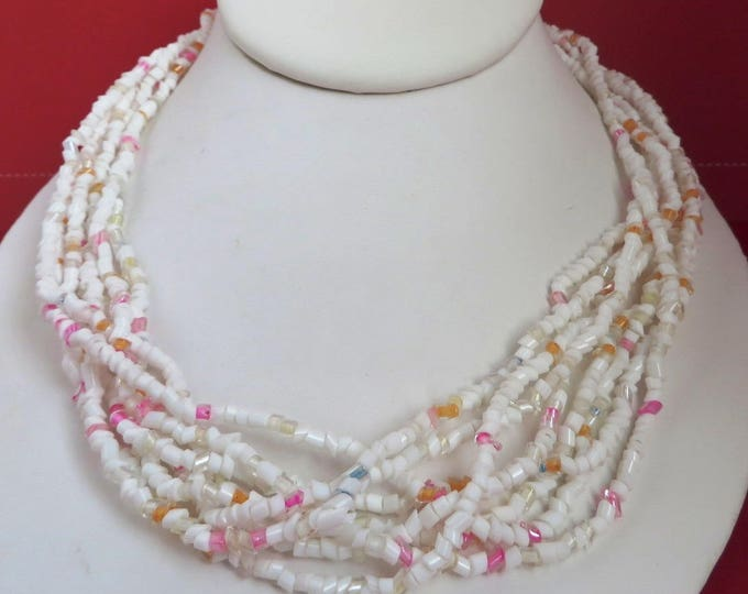 Pink & White Bead Necklace - Vintage Tube Bead, Multi-Strand Necklace