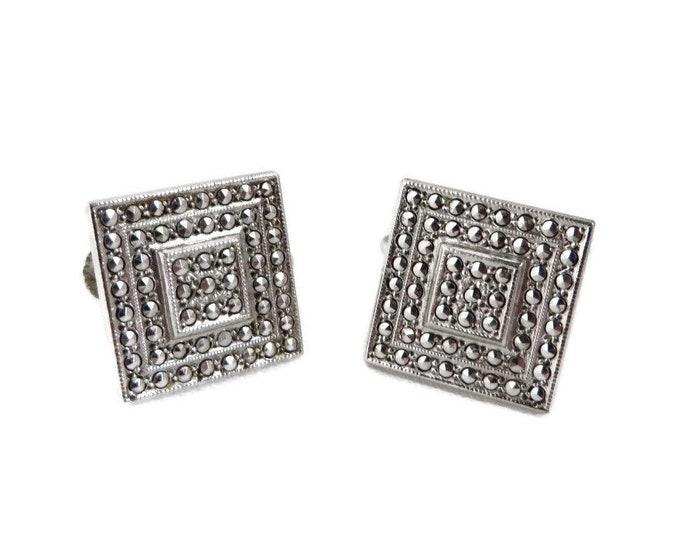 Square Silver Earrings - Vintage Sterling Silver, Faux Marcasite Screwback Earrings