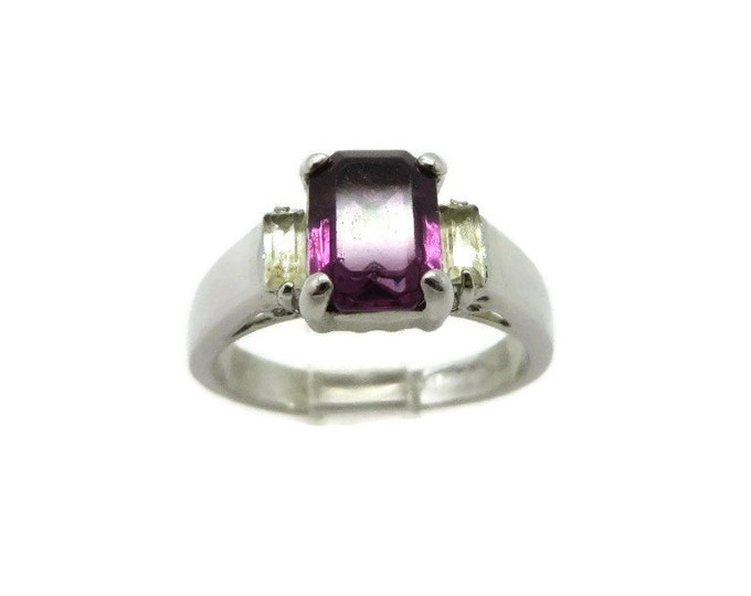 Amethyst Glass Ring - Silver Toned Emerald Cut Purple Glass Costume Jewelry Ring, Size 6.5