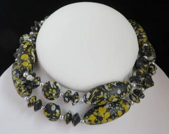 Black Bead Necklace, Vintage Necklace, Spattered Bead Necklace, Boho Jewelry, Hippie Necklace, Gift for Her