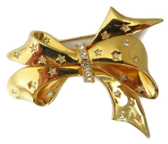 Joan Rivers Bow Brooch - Vintage Rhinestone Studde