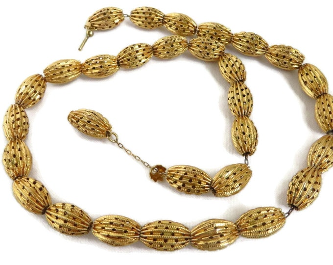 Golden Bead Necklace - Vintage Oval Airy Beaded Necklace