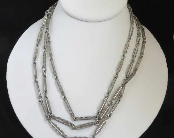 Bar Link Necklace - Vintage Silvertone Chain Link Bar Long Necklace