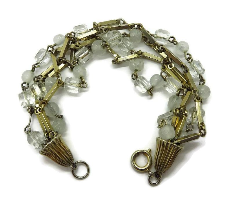 Multi Strand Gold Tone Link Bracelet Vintage Opaque Bead Bracelet