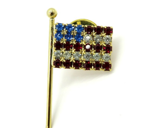 USA Flag Tie Tac - Vintage Rhinestone Lapel Pin, Patriotic Tack Pin