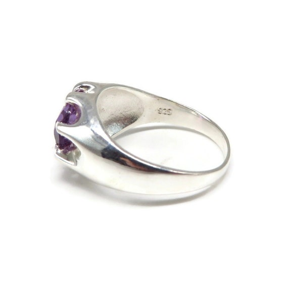 2ct Natural Amethyst Ring Size 8 Vintage Sterling Silver Amethyst Ring