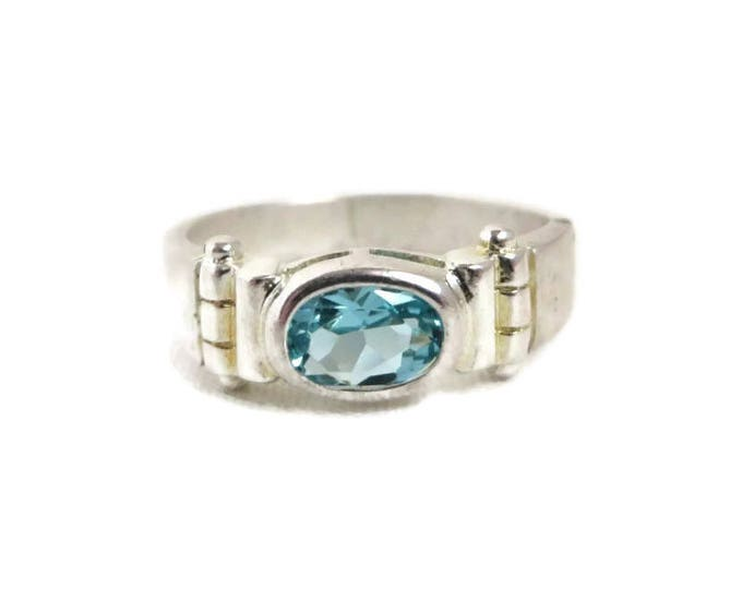 Blue Topaz Silver Ring - Sterling Silver Band, Vintage Ring, Size 8