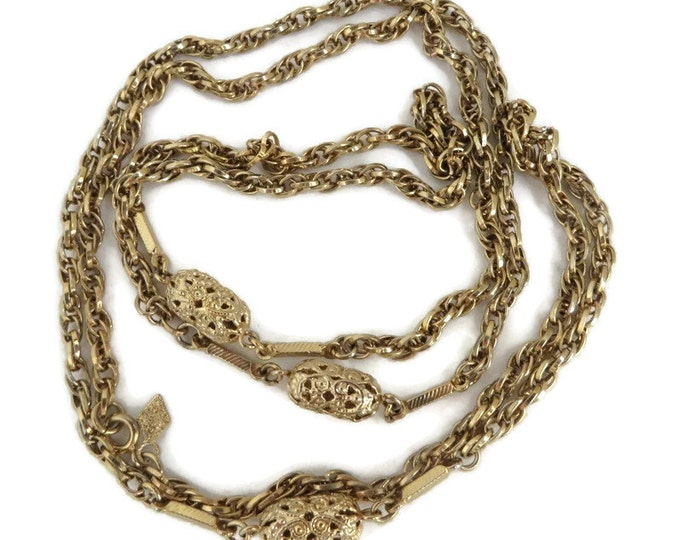 Braided Chain Necklace - Vintage Sarah Coventry Necklace, Long Filigree Necklace