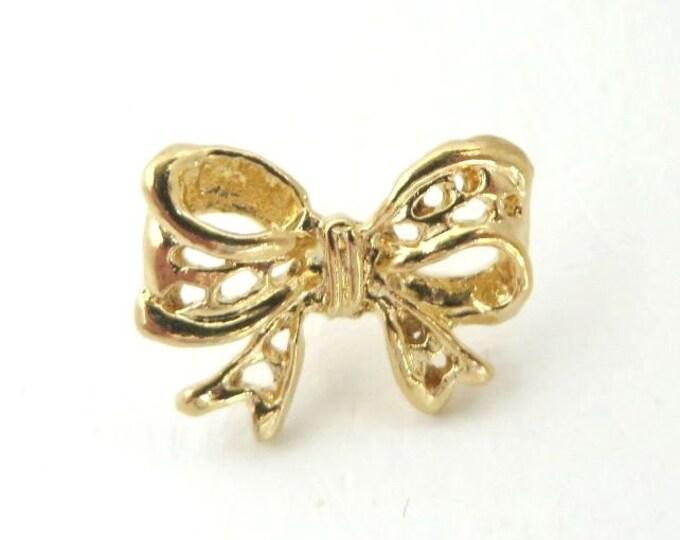 Vintage Golden Bow Tie Tac, Tack, Lapel Pin