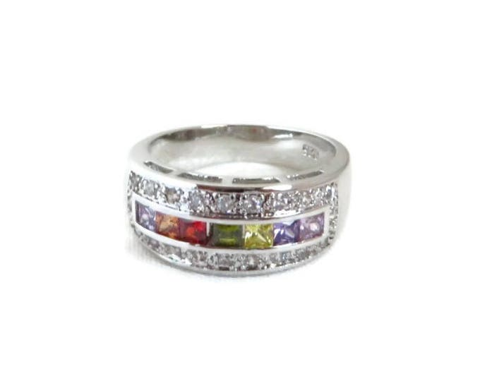 Sterling Silver CZ Ring | Vintage Multicolor Channel Set CZs | Wide Band Ring | Size 8