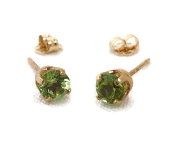 Peridot Stud Earrings, 14K Yellow Gold Pierced Earrings