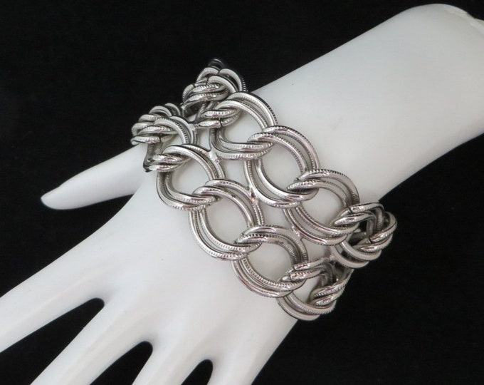 Chunky Double Chain Bracelet - Vintage Silver Tone  Link Toggle Bracelet
