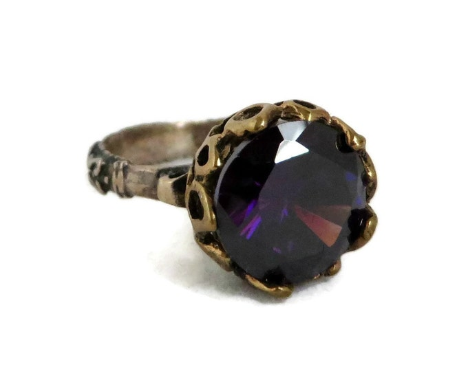 Faux Amethyst Ring, Vintage Purple Glass Ring, Two Tone Sterling Silver, Scrolled Band Statement Ring, Unique Gift For Her